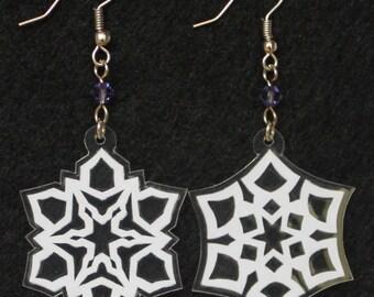 Hand-Cut Paper Snowflake Earrings Plum Crystal
