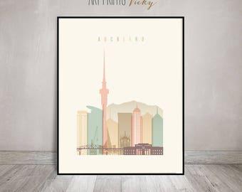 Auckland Art Print Pastel Auckland City Skyline Poster by ArtPrintsVicky.com