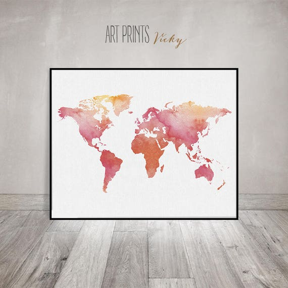 World Map Art World Map Poster Watercolor Print Travel Map - Large world map painting