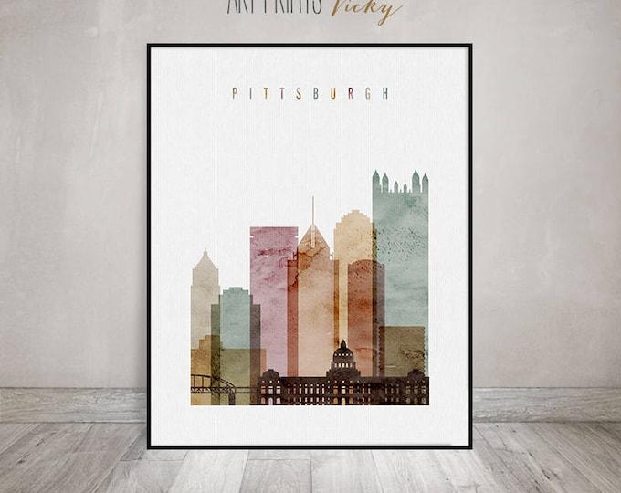 Pittsburgh art print, watercolor, Pittsburgh skyline poster, Wall art, Travel, Pennsylvania, City print, Home Decor, ArtPrintsVicky