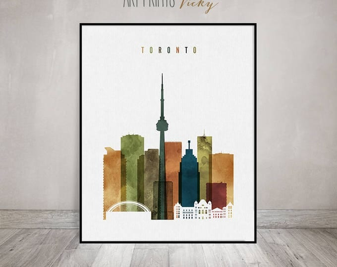 Toronto art print, Toronto skyline wall art, Toronto watercolor poster, travel decor, housewarming gift, wall decor, ArtPrintsVicky