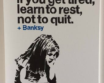 Learn to Rest, Not to Quit - Girl Sitting w/ a Bird - Banksy Canvas Reproduction