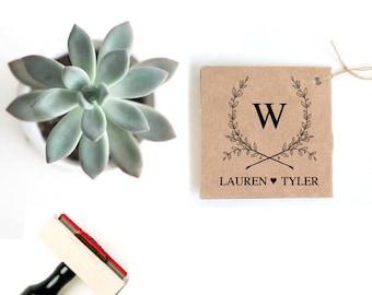 Summer Wedding Favor Stamp - Custom Wedding Favor Bag - Wreath Wedding Stamp Monogram - Custom Wedding Logo - Rustic Wedding Logo Design