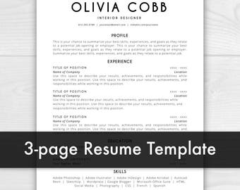Resume Template Mac | Etsy  Resume Templates Mac