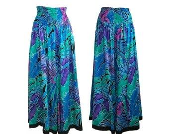 DIANE FREIS Vintage Tropical Culottes Pants Fres Floral Jungle Print 1980s