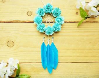 Boho Blue Flower Dreamcatcher: Car Accessory, Rearview Mirror Accessory, Boho Dreamcatcher, Boho Car Decor, Blue Car Decoration
