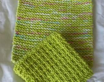 Hand Knitted Pot Holder and Dish Cloth Set, Hot Green Pot Holder and Dish Cloth Set