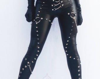 Studded Faux Leather Leggings, Heavy Metal Fashion, Studded Leather Leggings, Black Studded Leggings, Studded Leggings