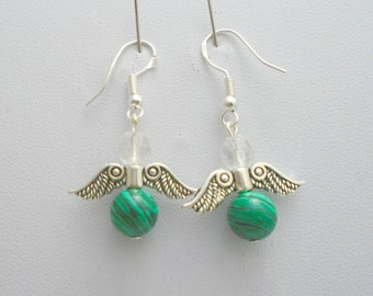 Malachite Earrings, Guardian Angel, Green Gemstone Earrings, Angel Wing Earrings, Malachite Jewelry, Angel Wings, Chakra Earrings,