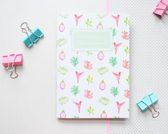 Monstera note book, mint green jotter, kolibri excercise book, greenery stationery