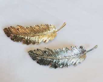 """Feather Hair Clip / 3.5"""" Silver or Gold Feather Barrette / Boho Hair Accessory / Silver or Gold Metal Pin / 3.5 Inch Feather / HA22"""