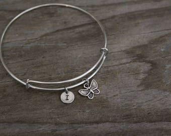 Butterfly Bangle Bracelet - Animal Lover Gift- Butterfly Gift - Moth - I/B/H