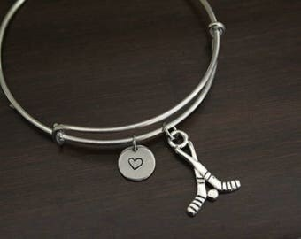 Hockey Bangle - Field Hockey - Sports Bangle - Athlete Bangle - Sports Player - Athlete Gift - Bracelet - I/B/H