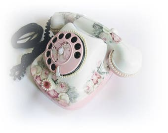 Retro phone. Antique phone. Hand-decorated phone Shabby chic style. Home decor