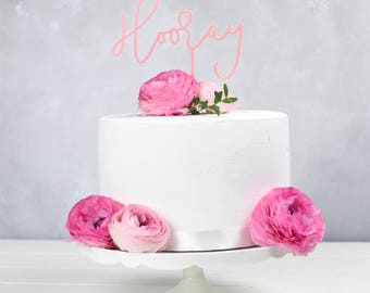 Hooray Cake Topper - Birthday Celebration Wedding Cake Decoration