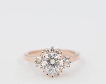 Halo Engagement Ring, Moissanite Engagement Ring, Diamond Engagement Ring, Engagement Ring, Diamond Ring, Morganite Ring, Rose Gold Ring