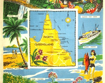 Cairns North Queensland Cruise Lamont Tea Towel - 60s Souvenir Holiday Tourist Tropical Beach - New Old Stock 1960s