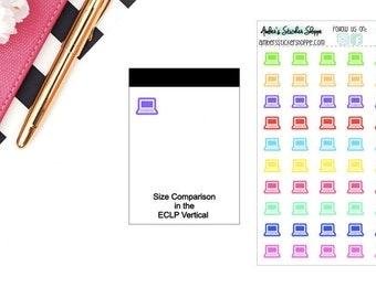 School Multicolored or Black Mini Laptop Computer Icon Planner Stickers