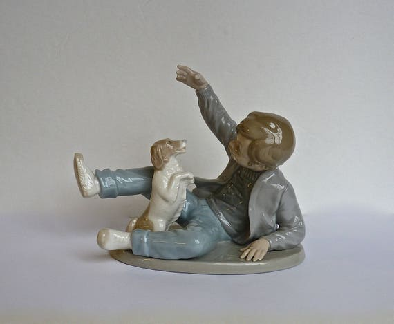 NAO By LLADRO ~ Boy Playing With His Dog ~ Vintage 1980 ~ Retired NAO ~ Produced By Lladro ~ Made In Space ~ Lladro Fine Porcelain