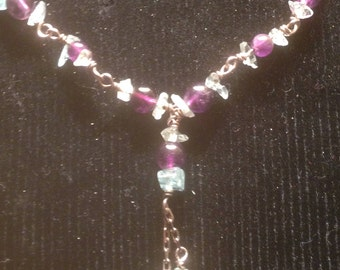 Amethyst and Silver drop necklace with pale green detail