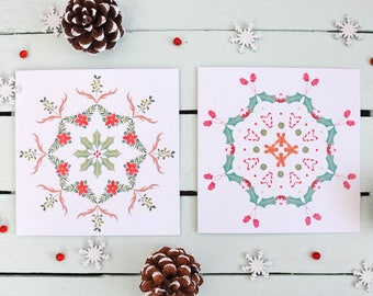 Christmas Cards - Festive Mandala Patterns - Set of 6 Cards - 2 Holiday Designs - Antlers + Mistletoe - Gingerbread Men + Sprouts
