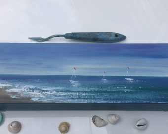 Sailboat Painting, Seascape, Ship, Yacht Art, Sunrise Painting, Boat Painting, Ocean Art, Original Diptych Oil Painting on Canvas