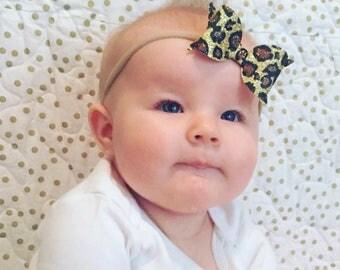 Leopard Print Headband - Medium Bow - Photo Prop