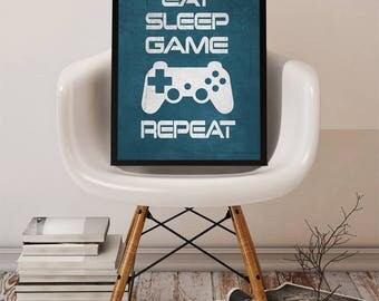 "Video Game Wall Art Graphic Print Teal ""Eat Sleep Game Repeat"" 8x10 or 11x14 Matted Options"