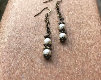 Pearl Dangle Earrings, Vintage Style Jewelry, Bridesmaid Gifts, Simple Bridal earrings, Bronze earrings, Boho Drop Earrings, Gift for her