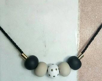 Metallic Polka Polymer Clay Necklace