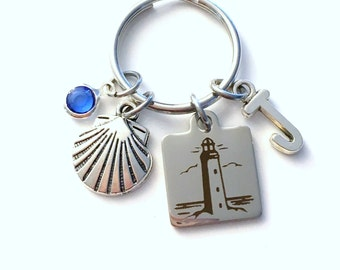 Lighthouse KeyChain, Silver Vacation Beach Keyring, Sea Shell Key Chain, Gift charm Initial Birthstone present Beach house cottage Jewelry