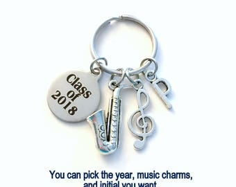 Music Graduation Present, Musician Grad Keychain, Gift for Band Student 2018 2019 2020 2016 2017 Key Chain Graduate Keyring Initial him her