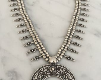 Turkish Silver Long Statement Pendent Necklace Bohemian Gypsy Global Festival Style