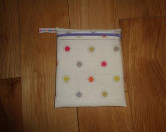 Sandwich Wrap Snack Bag - Bikini Bag - Lunch Bag  - Zero Waste Medium Poppins Waterproof Lined Zip Pouch Sandwich bag - Eco Multi Spot Dotty