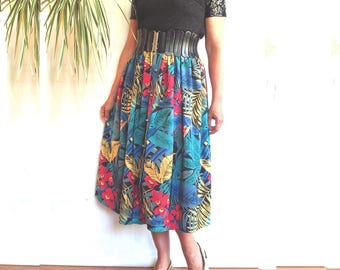 skirt vintage french 80's pin-up pattern tropical exotic unique size