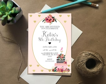 Downloadable Invites, Pink and Gold Invite, Party Invitation, Birthday Invitations, Birthday Party Invite, Birthday invitations for Girls