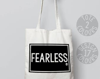 Fearless tote bag, eco bag, gift for teen girl, mothers day present, good cause, feminist af, grl pwr, love is love, pro choice, resistance