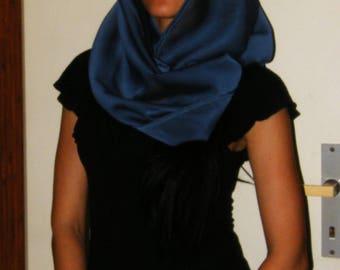 Navy Blue Sheer Scarf Collar