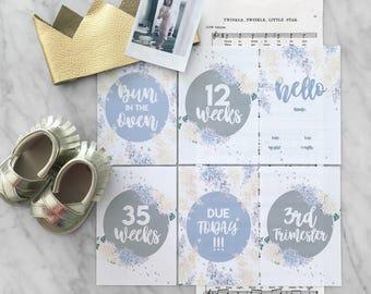 Printable Pregnancy Milestone Cards | Set of 58 | Lilac Flowers | Handpainted | Watercolor | Printable Cards | Pregnancy | Baby Keep Sake