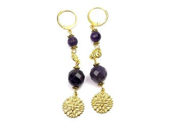 Earrings Baroque Amethyst prints Golden brass