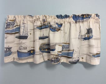 Nautical Valance-Beach Valance-Lake Valance-Boat Valance-Nautical Curtains-Tropical Valance-Boat Curtains-Lake Curtains