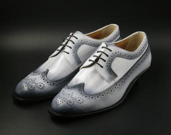 Leather man patina shoes, grey, Derby, hand painted (made in Italy)