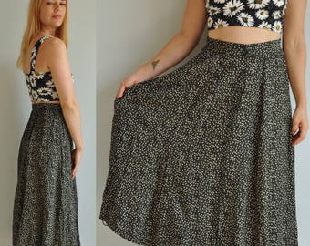 90s Calico Button Front Maxi Skirt // Floral // 1990s Grunge Boho Bohemian Festival