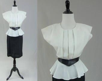 80s Peplum Dress - Black White - 80s does 40s - Pointy Arrow Belt - Vintage 1980s - S