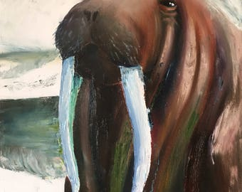 I Am the Walrus, Original Walrus Oil Painting on Canvas