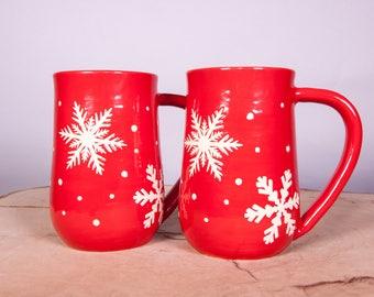 Red Snowflake Handmade Pottery Coffee Mug