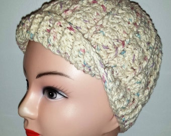 Crochet 100% Cotton Womens Hat Cap Chemo Cap Beenie (wear 3 different ways)