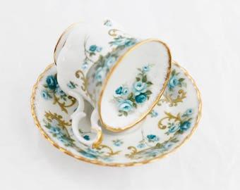 Pretty Seagreen Small Royal Albert's Demitasse or Ladies' teacup VERONICA - Sheraton Series-England, 1980s, Montrose shape