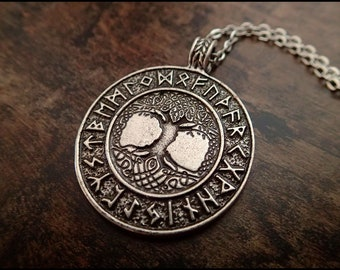 Tree of life Yggdrasil runes viking amulet odin celtic pendant necklace