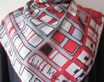 RICHARD ALLAN vintage silk twill scarf overlaid grid design very good condition